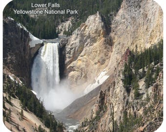 Custom Mousepad, Personalized Mouse Pad - Yellowstone National Park Lower Falls - Add Any Text - Free Shipping