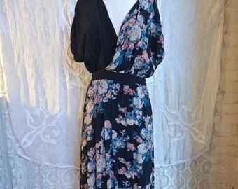 SUMMER SALE Black and Floral Grunge V-Neck Dress