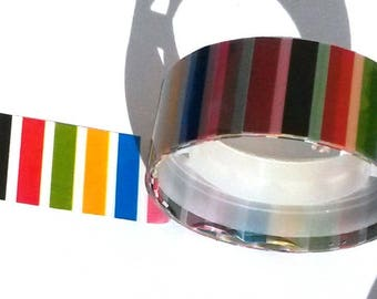Decorative tape, masking tape 2 m about striped multicolored pattern