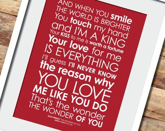 Perfect framed lyrics print with personalised message the wonder of you lyrics print option to add personalised message digital file stopboris Image collections
