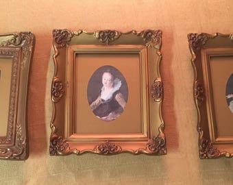 Set of 3 vintage framed European Art Prints Baroque style Gold FRAMES