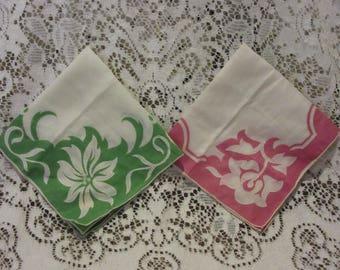 Vintage Handkerchiefs -Set of 2 -Pink/Green Ladies Handkerchiefs -New with tags -JC Penneys Handkerchief -Stitching around flowers -Kitschy