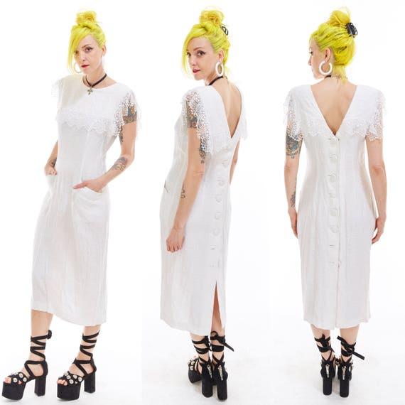 Vtg 90s BACKLESS Midi DRESS White Lace Dolly Bib MINIMALIST Grunge Romantic Boho Victorian Edwardian Steampunk Wedding Brocade Linen Sexy M