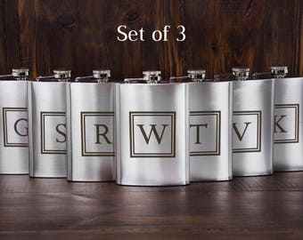 3 personalized groomsmen flasks, custom flasks, engraved flasks, party favors, flasks gift set, thank you gifts, cheap gift flask, set of 3
