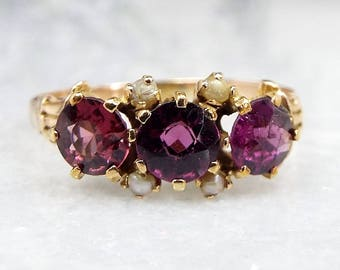 Antique Victorian 15ct Yellow Gold Purple Amethyst and Seed Pearl Ring / Size P 1/2