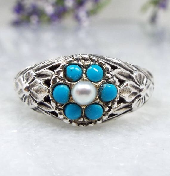 Vintage Sterling Silver Art Nouveau Style Turquoise Pearl Flower Ring / Size M