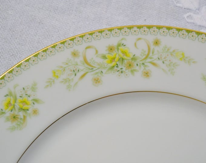 Vintage Mikasa Greenbriar Round Platter Chop Plate Green Yellow Floral Gold Rim L2014 Replacement Made in Japan PanchosPorch