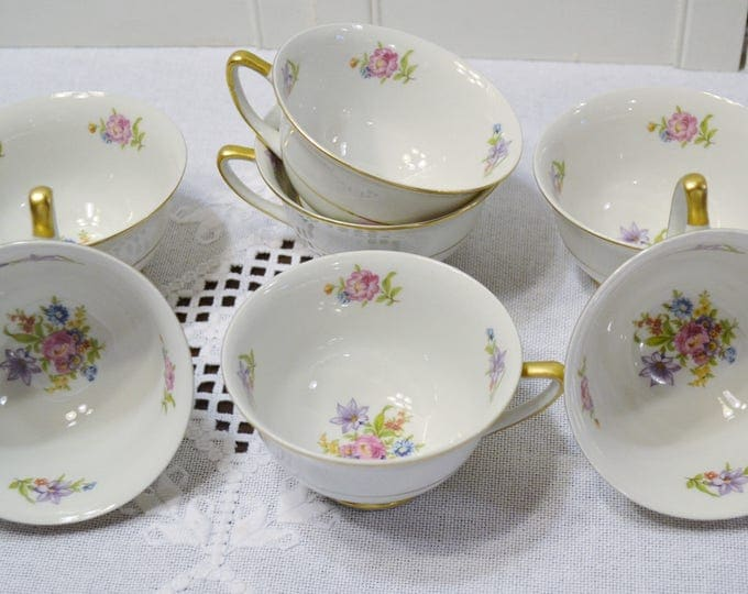 Vintage Royal Jackson Featherweight Teacup Set of 7 Floral Vintage China Made in USA Replacement PanchosPorch