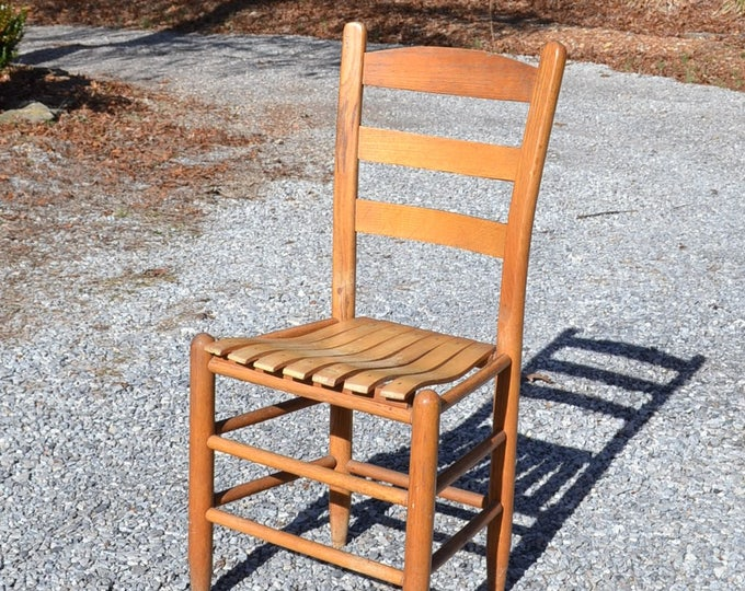 Vintage Wooden Ladderback Chair Wood Slat Rustic Country Shabby Cottage Home Decor PanchosPorch