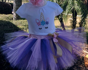 Unicorn  birthday girl outfit,one year old girl birthday outfit,1st birthday tutu outfit,unicorn photo prop,unicorn onesie,1 year old dress