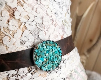 Turquoise Stone Belt Buckle, Boho, Bohemian, Natural Turquoise, Turquoise Chips, Gypsy, Cowgirl, Rustic, Accessories, Gift For Her, Festival