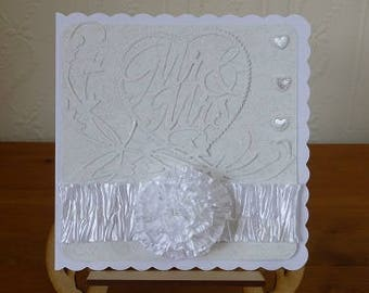 Mr And Mrs Glitted Heart Wedding Day Card