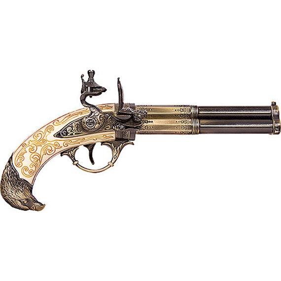 Antique 1700s Flintlock 3 Barrel Replica Non Firing Gun Pistol