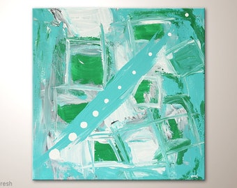 """TURQUOIS - Green- Whte Fine ART """"Fresh"""" Small Canvas Art By MartinK. Original Unique Wall Decor For Living Room Office Or Home"""