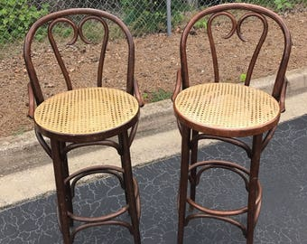 Pair of Thonet bentwood cane bar stools