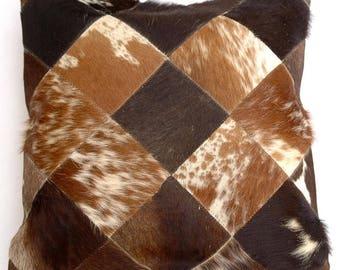 Natural Cowhide Luxurious Patchwork Hairon Cushion/pillow Cover (15''x 15'')a146