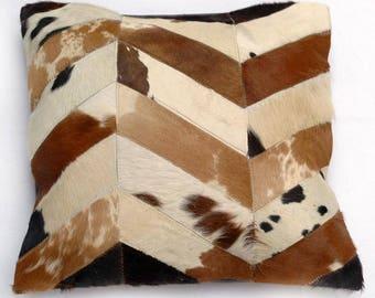 Natural Cowhide Luxurious Patchwork Hairon Cushion/pillow Cover (15''x 15'')a279