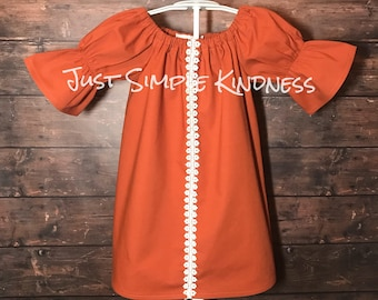 Girls Fall Outfit, Girls Fall Dress, Girls Orange Dress, Girls Dresses, Baby Dress, Toddler Dress, Baby Girls Dress, Fall Dress, Fall Outfit