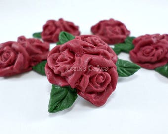 Burgundy Sugar Flowers, Edible Fondant Flower Roses for Cake Decoration, Cupcake Toppers, Fall Wedding Autumn Decor Cake, cranberry red