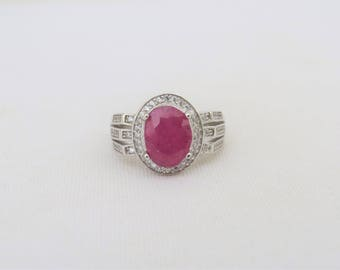 Vintage Sterling Silver Natural Ruby & White Topaz Ring Size 7