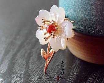 Chinese style Jade flower brooch pins,sakura,breastpin,elegant,gift for women,gift for her