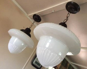Antique Set of 2 Large Acorn Pendant Lights Milk Glass Art Deco Vintage 1910s