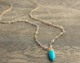 Labradorite Turquoise Point Gold Filled Necklace
