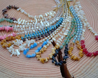 Natural gemstone/pearl necklaces