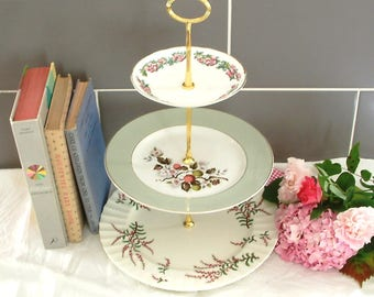 Beautiful Vintage Plates Cake Stand - 3 Tier - With Contrasting Green and Pink floral Plates and Gold Stem - H04