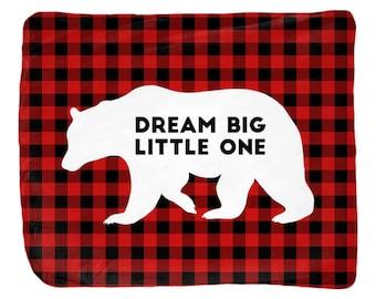Dream big little one, boy throw blanket, kids room decor, buffalo check, velveteen fabric, personalized
