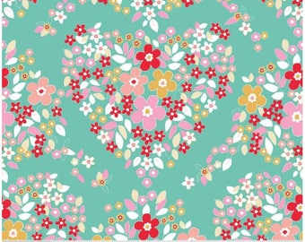 Heart fabric, teal floral fabric, forget me not fabric,  GREEN colorway