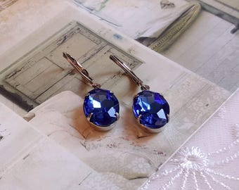 Sparkling oval sapphire blue crystal Silver Leverback drop earrings Vintage inspired Gift earrings