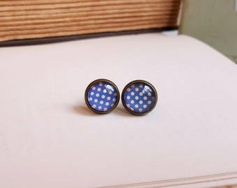 Modern chic Antiqued brass stud earrings Poka dots blue and pink Glass Cabochon