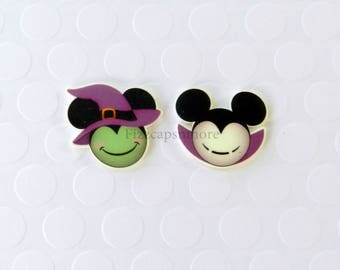 Witch & Vampire Mickey Minnie Pins Set Of 2 Handcrafted Mouse Head Ears Brooch Flair Halloween Lapel Pin Tie Tack Hat Pin Halloween