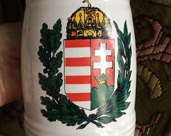 White Ceramic Beer Stein , Beer Mug , Beer Tankard , Coat of Arms of Hungary Souvenir collectable UNGARN Hungary Gift  Nostalgia