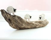 Sheep on the Hillside  Driftwood Art Sculpture