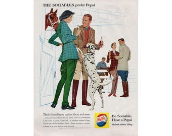 Vintage 1960 poster advertisement for Pepsi-Cola  -  42