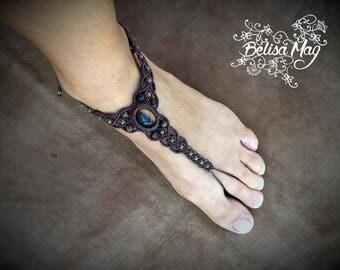 Tiger eye barefoot sandals, slave foot macrame bracelet, macrame tiger eye, macrame foot jewelry, boho foot bracelet, Belisamag.