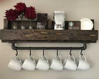 Shari Industrial Coffee Bar Shelf//Coffee Beverage Caddy//Industrial Pipe Coffee Bar Shelf//Coffee Cup Display//Coffee  Caddy//Coffee Bar//