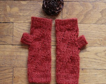 Knitted with pattern - woman rust mittens