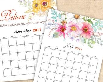 2018 and 2017 watercolor floral calendar,  Printable Watercolor Flower Monthly Calendar,Template Calendar, Monthly Page, DIGITAL DOWNLOAD
