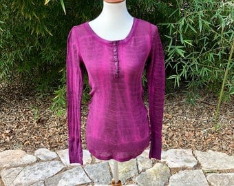 Pink and brown tie dyed ladies long sleeve shirt, overdyed waffle tee, upcycled women's shirt