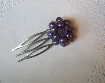 Purple Hair Comb (26) - Jeweled Hair Comb - Vintage Beaded Earring - Repurposed jewelry - purple beaded hair comb