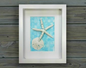 Seashell Home Decor For Your Coastal Inspired Nursery or Bedroom. Seashell Art in a Shadow Box in Baby Blue.
