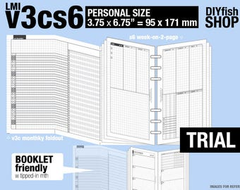 Trial [PERSONAL v3cs6 w/o DAILY] November to December 2017 - Filofax Inserts Refills Printable Binder Planner Midori.