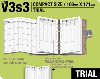 TRIAL [FC compact / B6 slim v3s3 w/o DAILY ] November to December 2017 - Filofax Inserts Refills Printable Binder Planner Midori