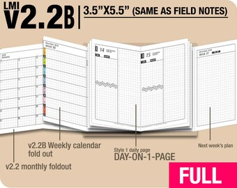 FULL [FIELD NOTES v2.2B w DS1 do1p] January to December 2018- Midori Travelers Notebook Refills Printable Planner.