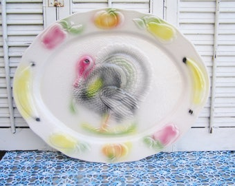 Vintage California Pottery Large Turkey Platter in Wonderful Retro Colors Mid Century Turkey Platter Holiday Turkey Platter Large Platter