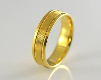 18k Yellow Solid Gold Wedding Band Size 11