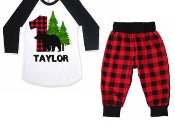 Lumberjack Birthday Shirt, Buffalo Plaid, Lumberjack Birthday, 1st Birthday Outfit, Lumberjack Birthday, Boys Birthday Shirt,